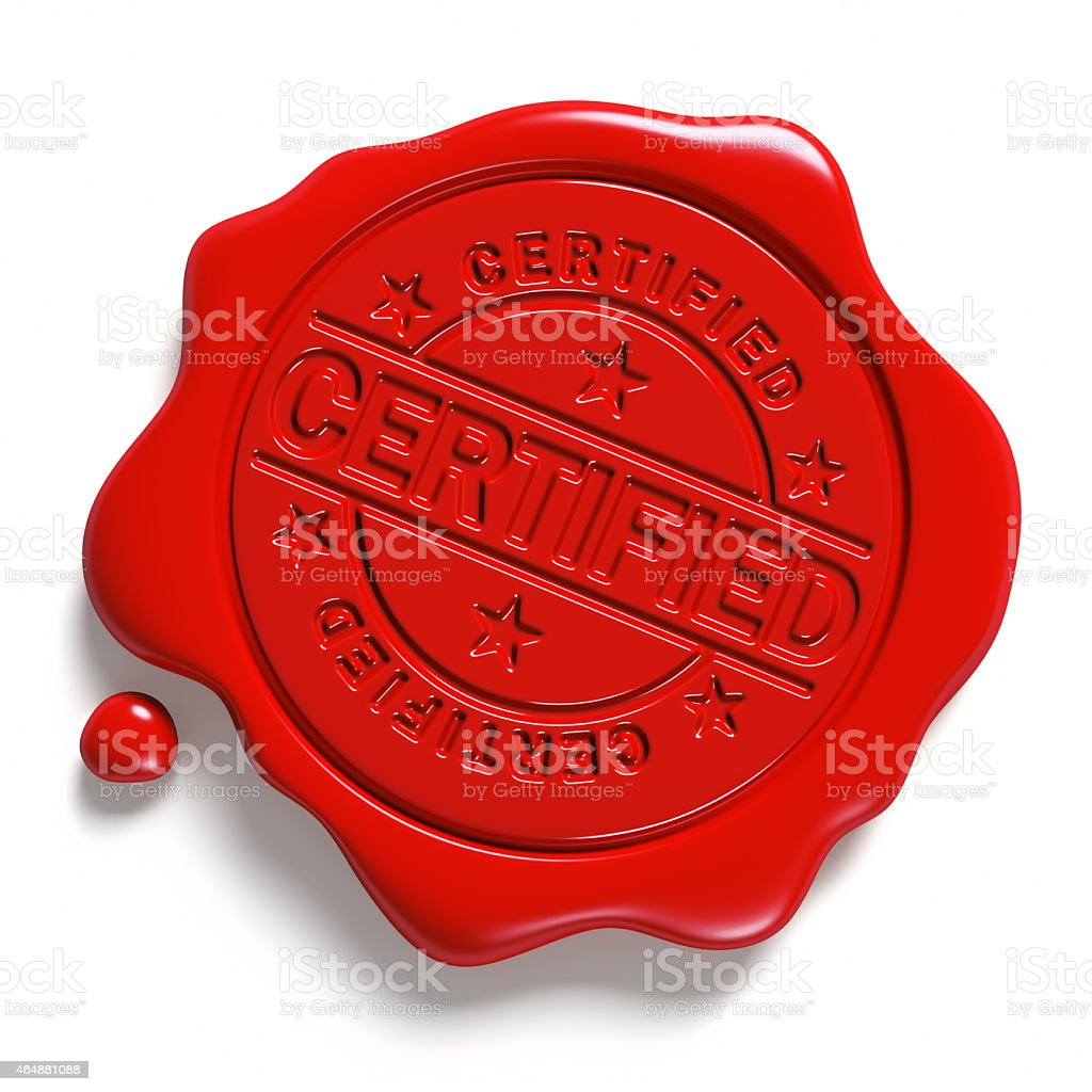 Red wax seal. «Certified». stock photo
