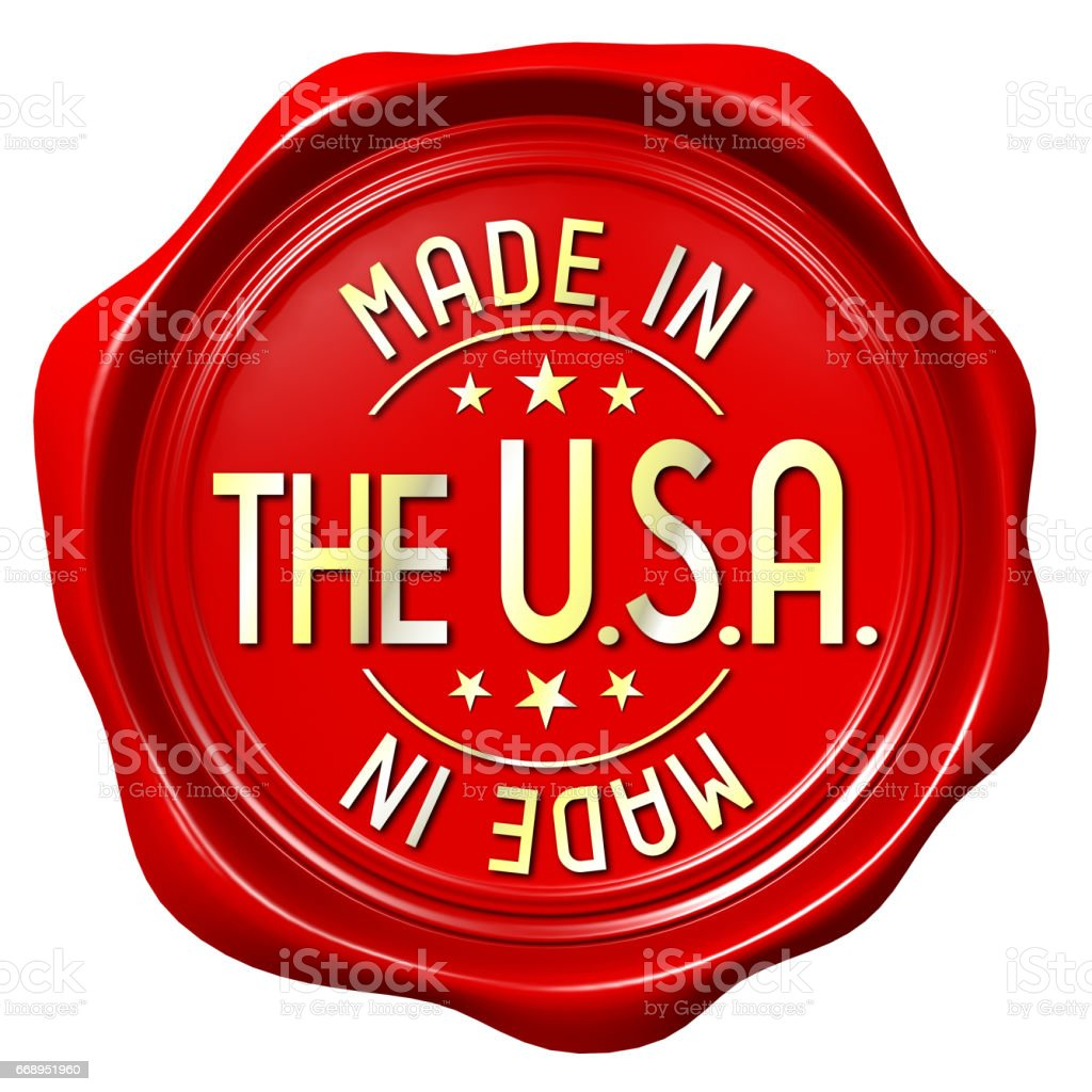 Red wax seal - made in the USA vector art illustration