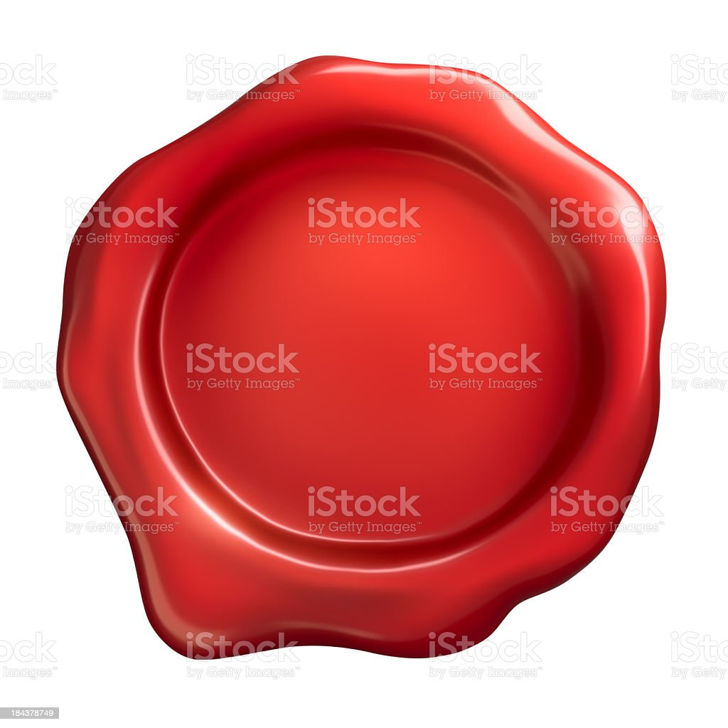 Red wax seal on a white background stock photo