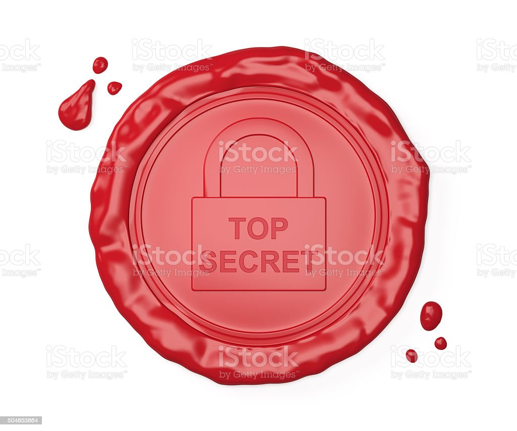 Red wax seal , Top secret stock photo