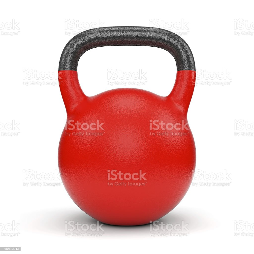 Red weight kettle bell stock photo