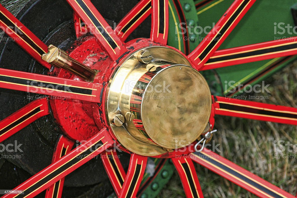 Red Wheel for steam traction engine stock photo