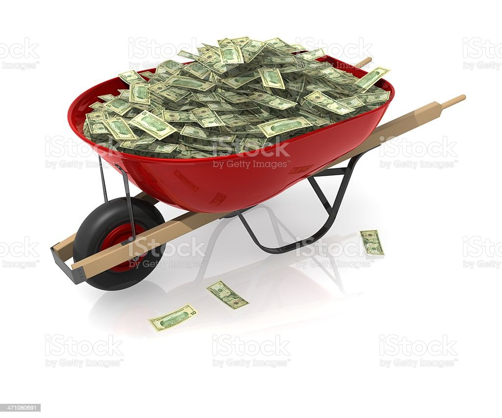 Red wheelbarrow with such a large amount of cash it spills stock photo