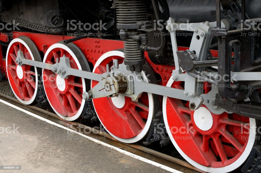 red Wheels of steam locomotive stock photo