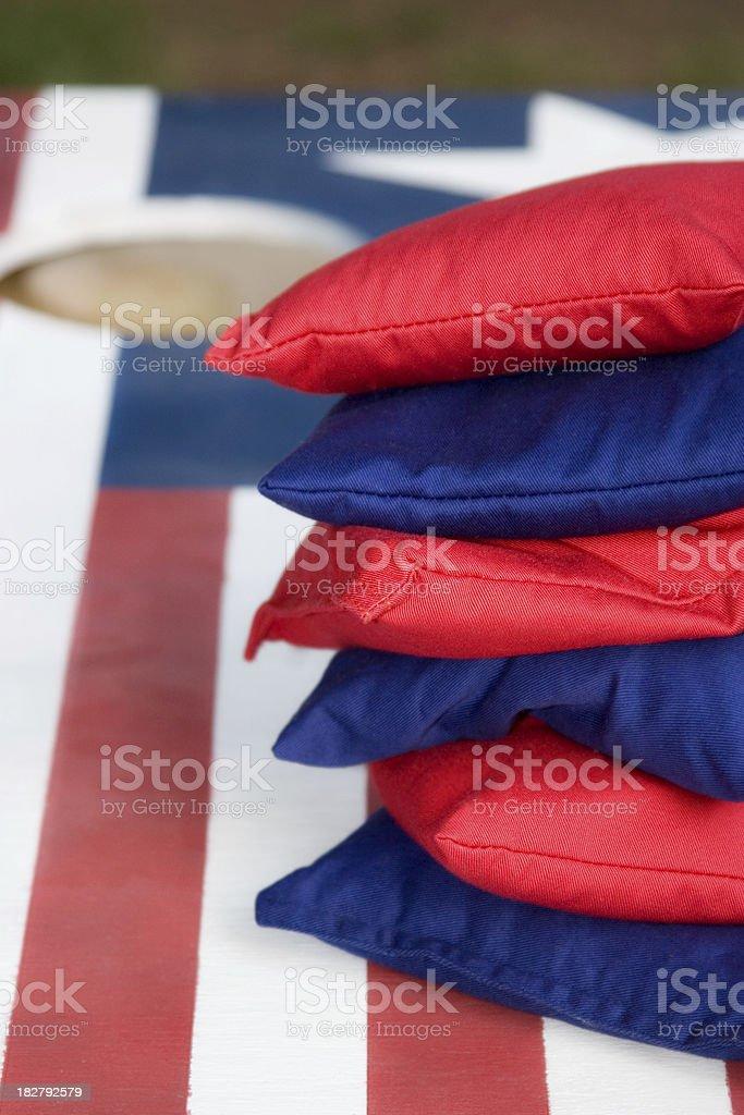 Red, White and Blue Cornhole Set stock photo
