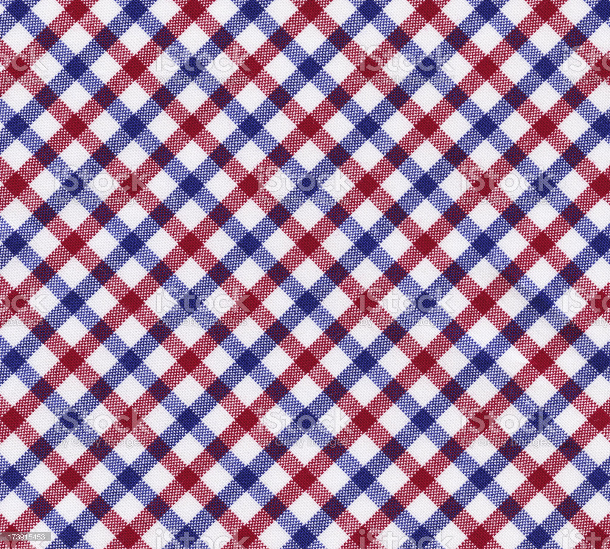 Red, white and blue gingham fabric royalty-free stock photo