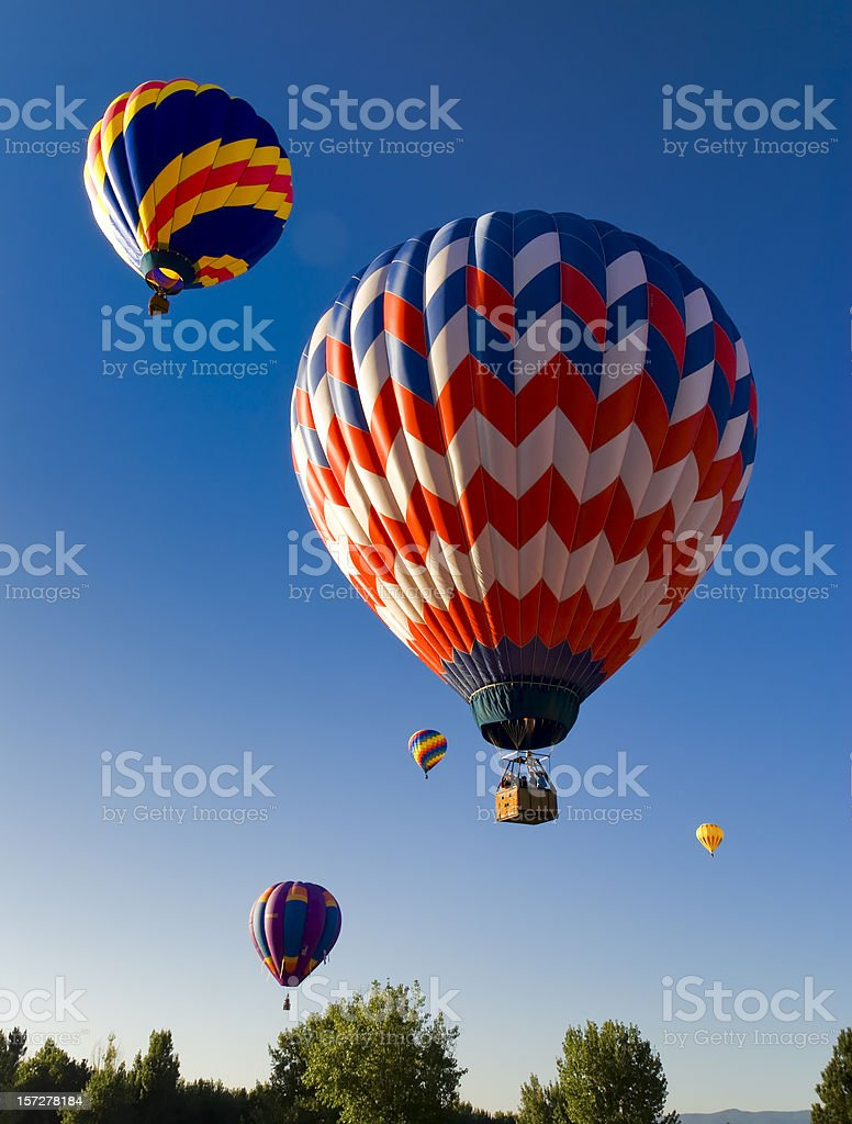 Red White and Blue Hot Air Balloon royalty-free stock photo