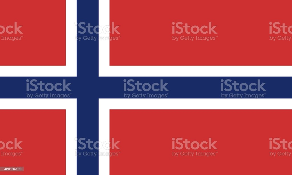 Red white and blue Norwegian flag stock photo