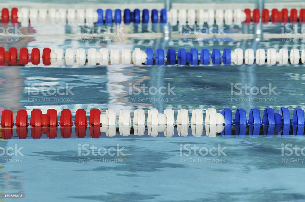 Olympic Swimming Pool Lanes red white and blue olympic size swimming pool lane marker stock