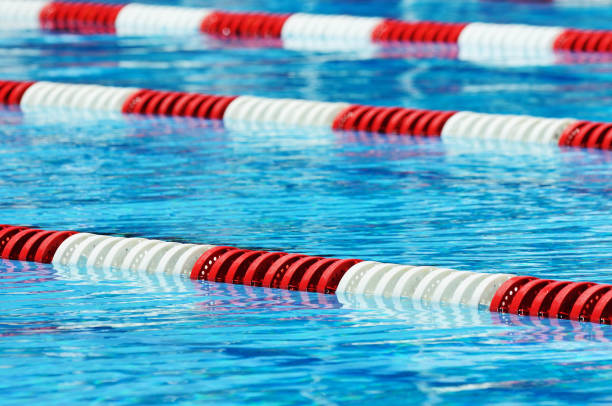 red white and blue olympic size swimming pool lane marker stock photo
