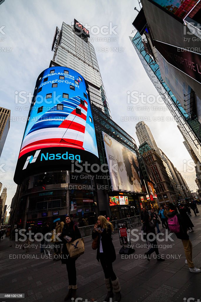 Red White and Blue on Nasdaq Billboard in Times Square stock photo