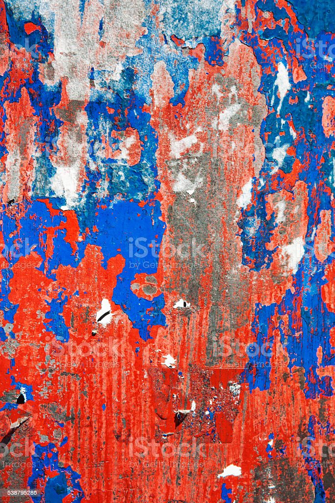 Red, White and Blue Peeling Paint Texture Background stock photo