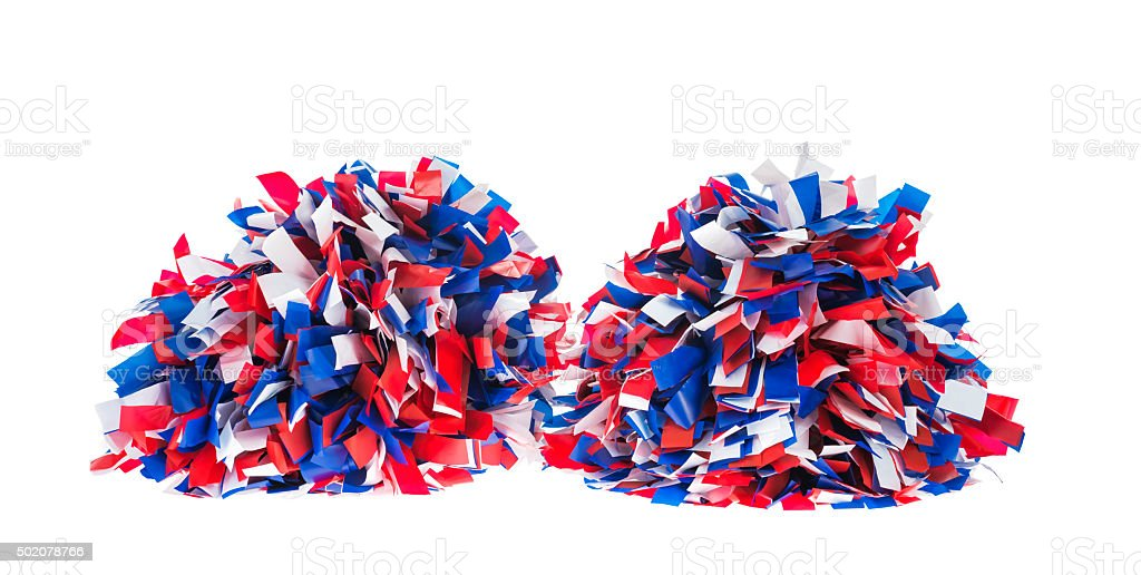 Red , White and Blue pom poms on white background stock photo