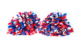 Red , White and Blue pom poms on white background