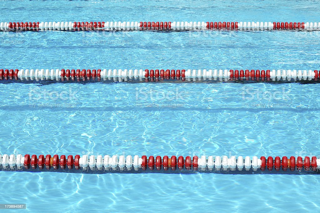 Red White and Blue Swimming Lane Marker in Pool royalty-free stock photo