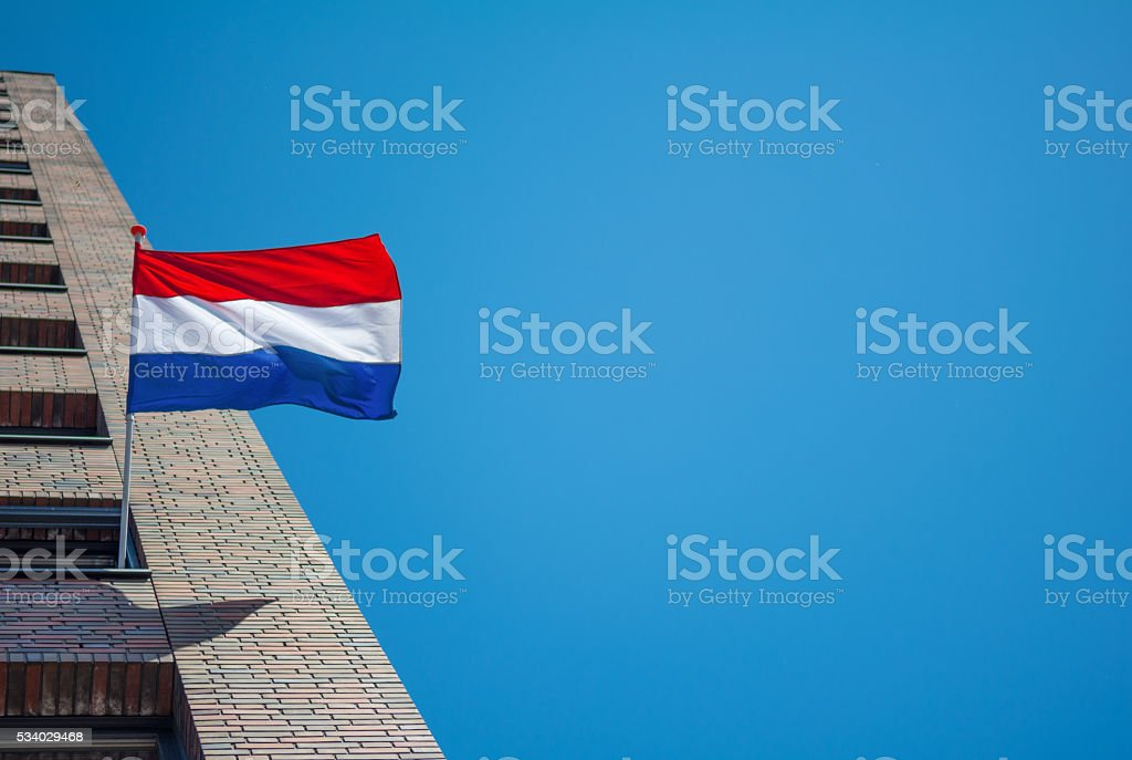 Red white and blue the Dutch National Flag stock photo