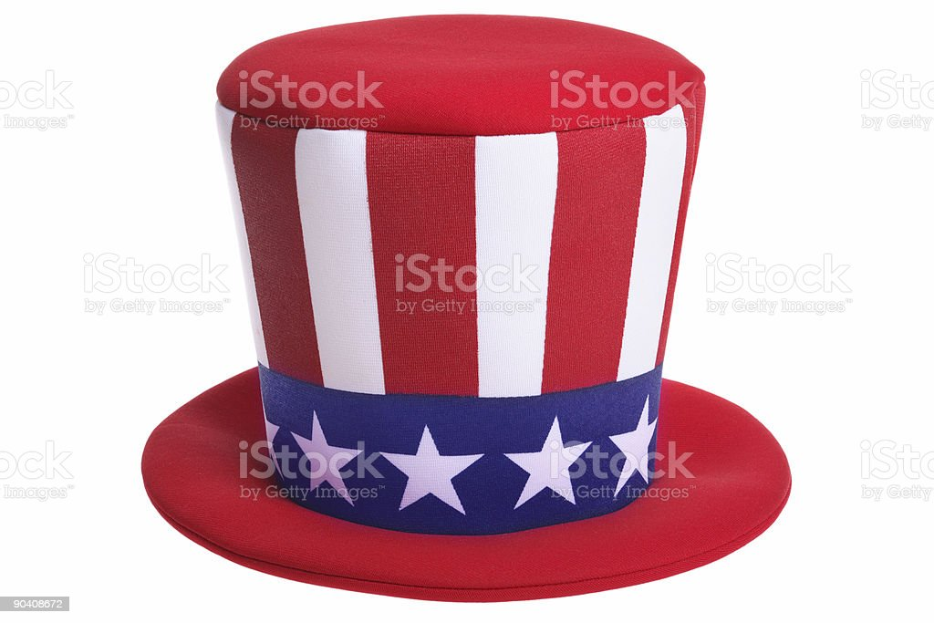 Red white and blue Uncle Sam hat stock photo