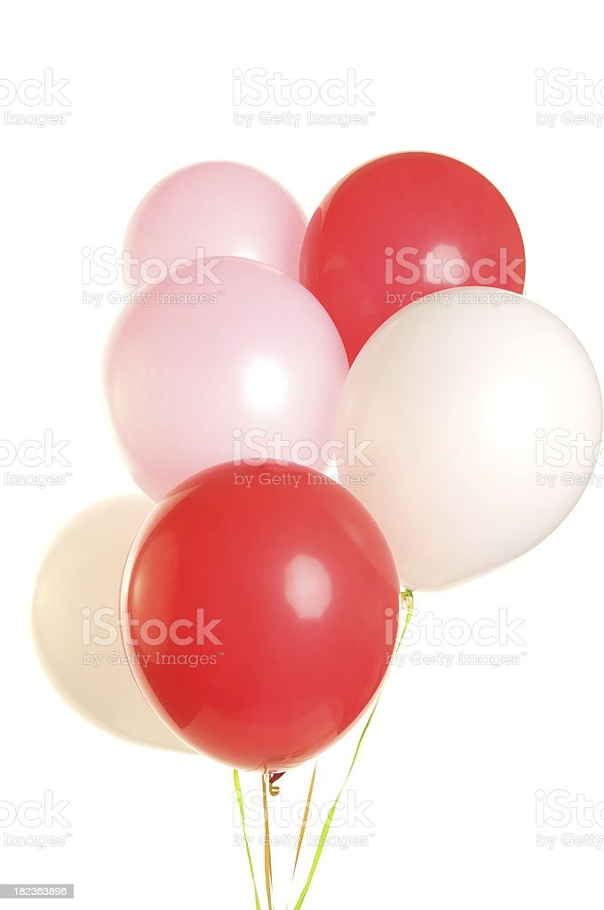 Red White and Pink Balloons for Valentine's Day royalty-free stock photo