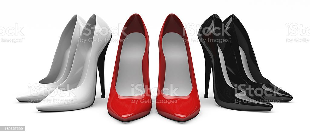 3D Red, White & Black High Heels Shoes royalty-free stock photo