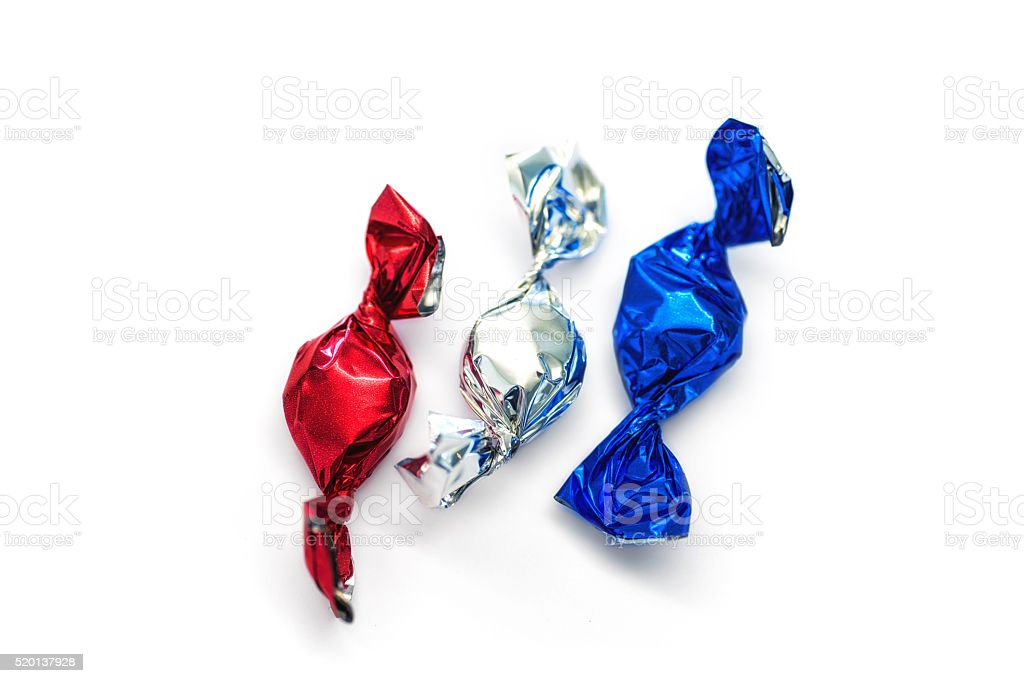 red white blue candy showing the colors of usa america stock photo