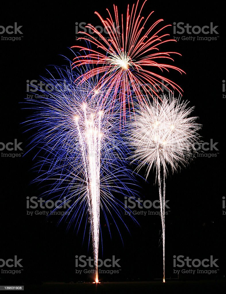 Red White Blue Fireworks royalty-free stock photo