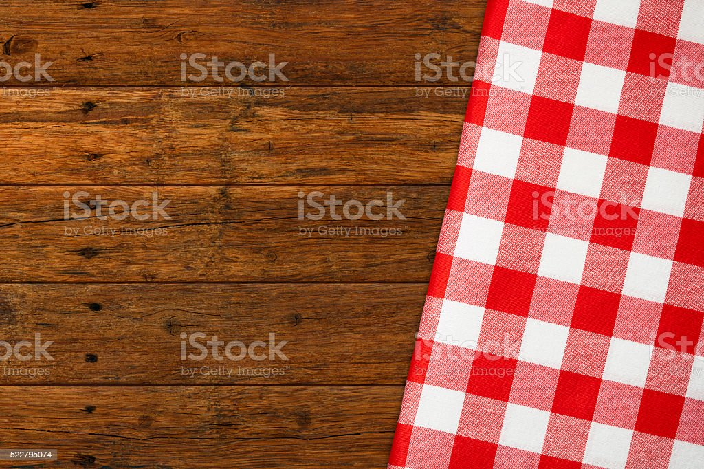 Red White Checked Rustic Picnic stock photo