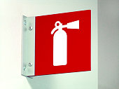 Red White Fire Extinguisher Sign Emergency Safety Information Warning Placard