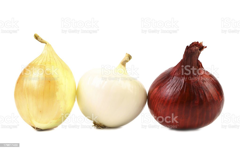 Red white gold onion bulbs stock photo