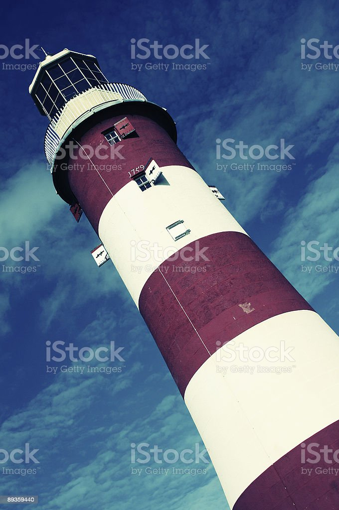 Red & White Lighthouse royalty-free stock photo