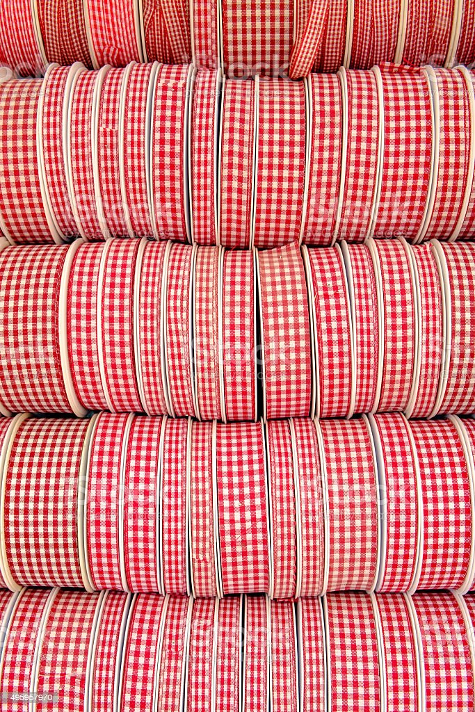 red white patterned wrapping ribbons stock photo