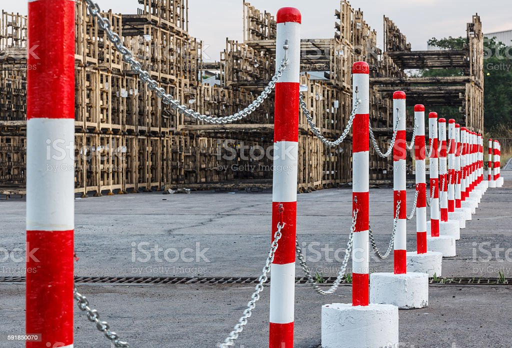 Red white pylons Alerts traffic warning stock photo