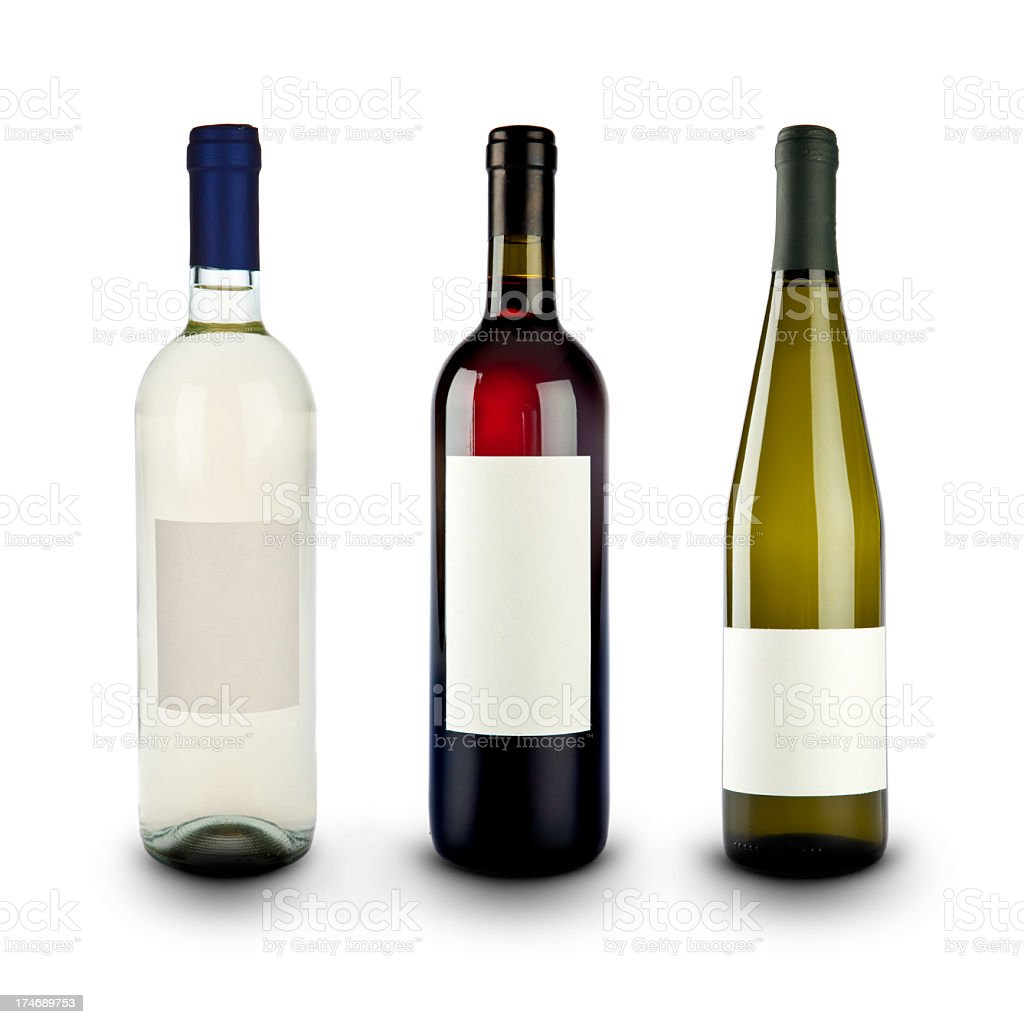 red white sparkling wine bottles composition isolated stock photo