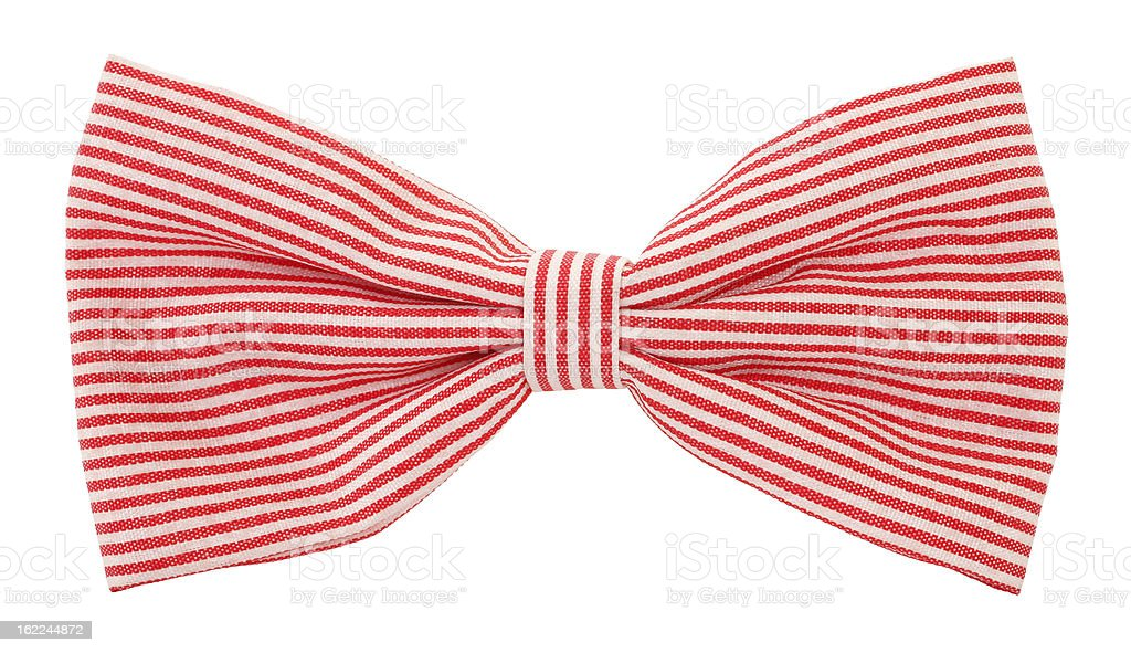 Red white striped bow tie stock photo