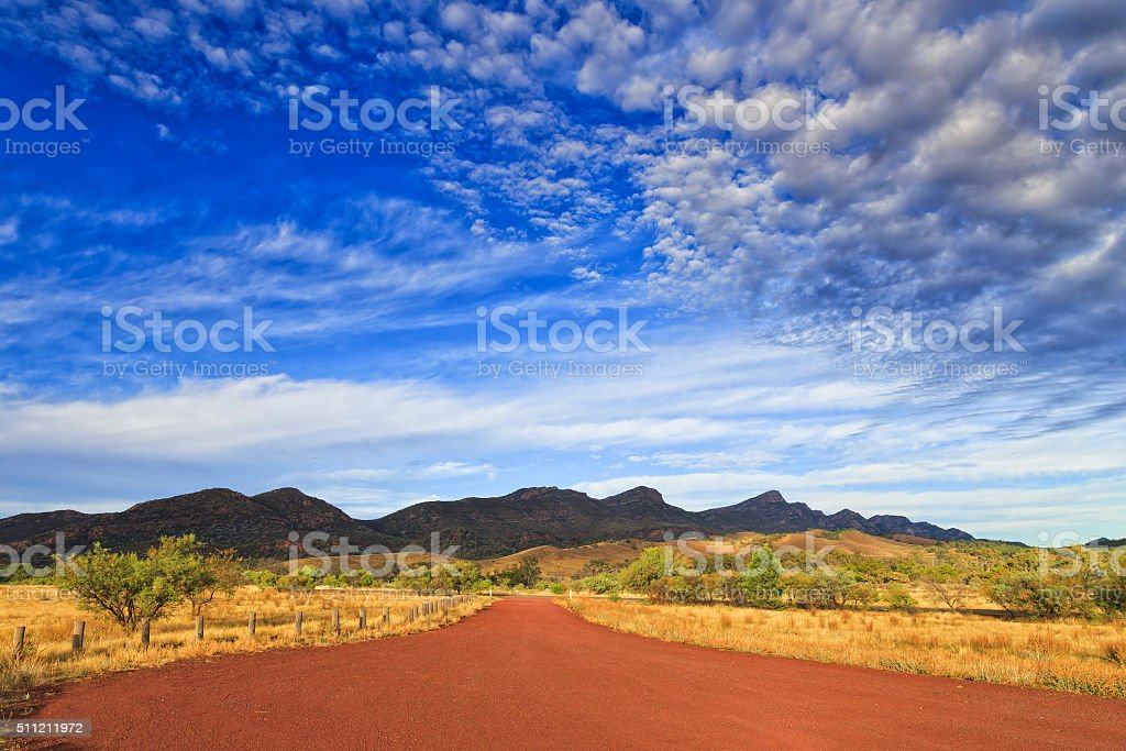 FR WP red wide road sunrise stock photo