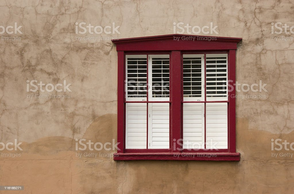 Red Window on Adobe Wall, Architecture, Southwest Style, Tidy Appearance royalty-free stock photo