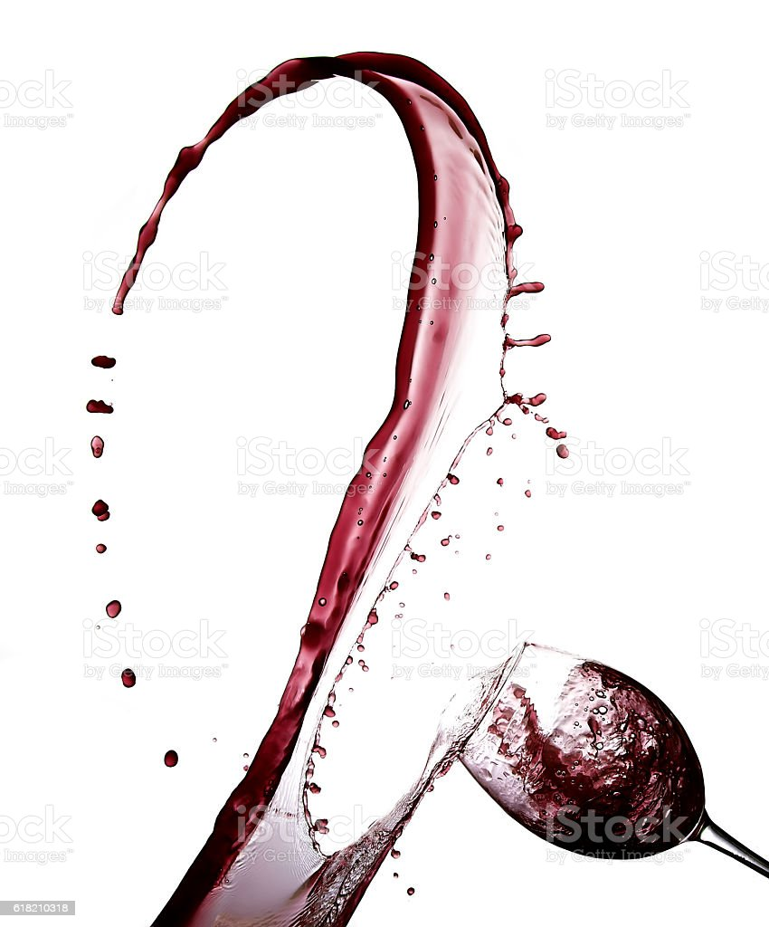 Red Wine Abstract Splashing with drops isolated on white stock photo
