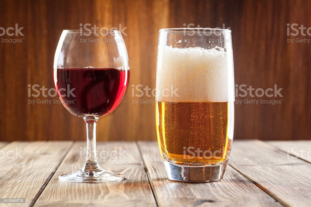 Red wine and beer stock photo