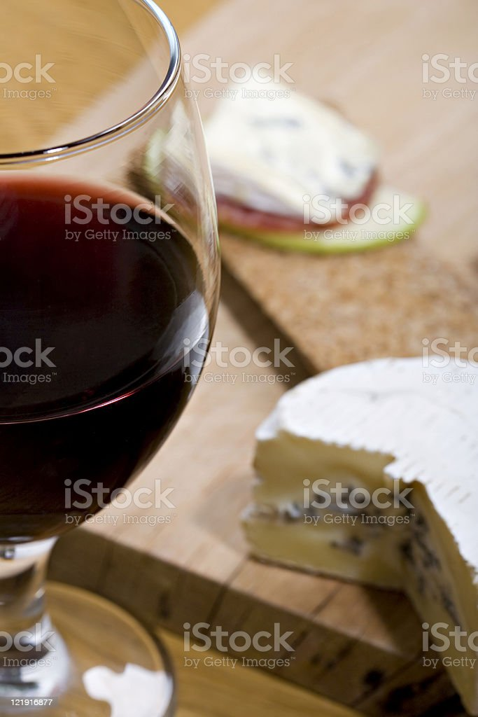 red wine and blue mould cheese royalty-free stock photo