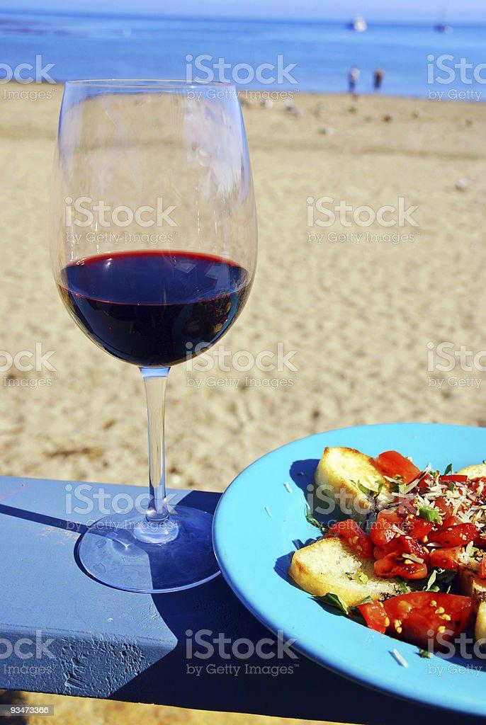 Red Wine and Bruschetta royalty-free stock photo