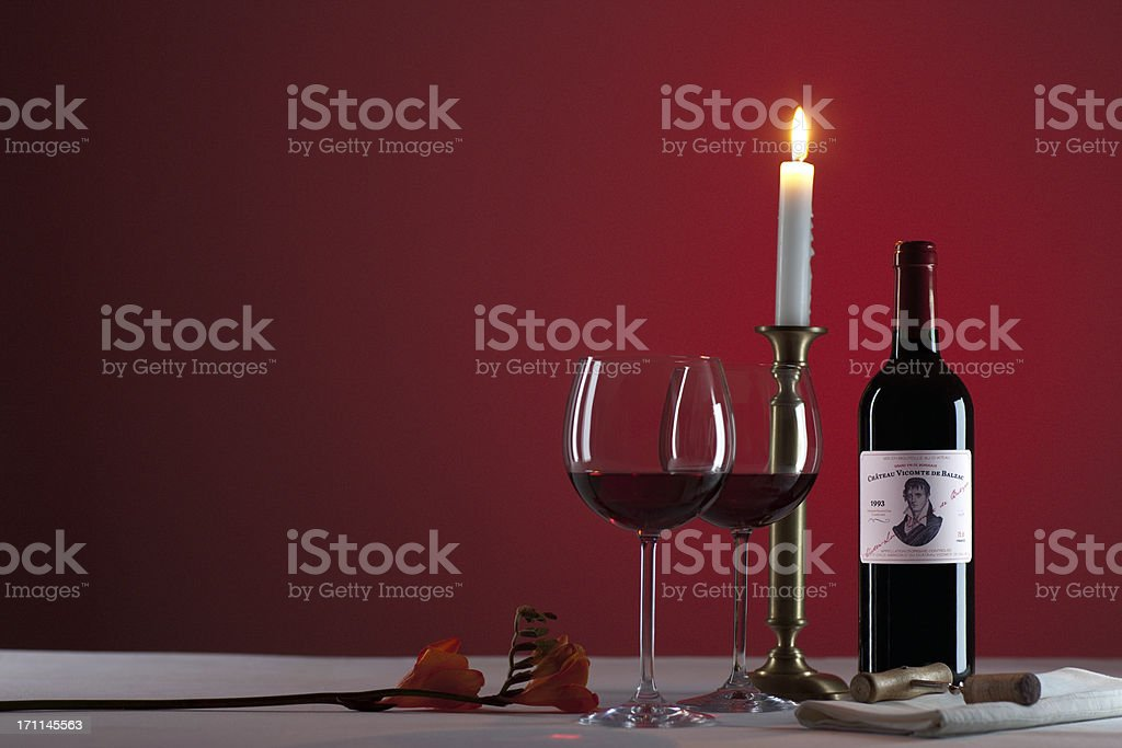 red wine and candlelight royalty-free stock photo
