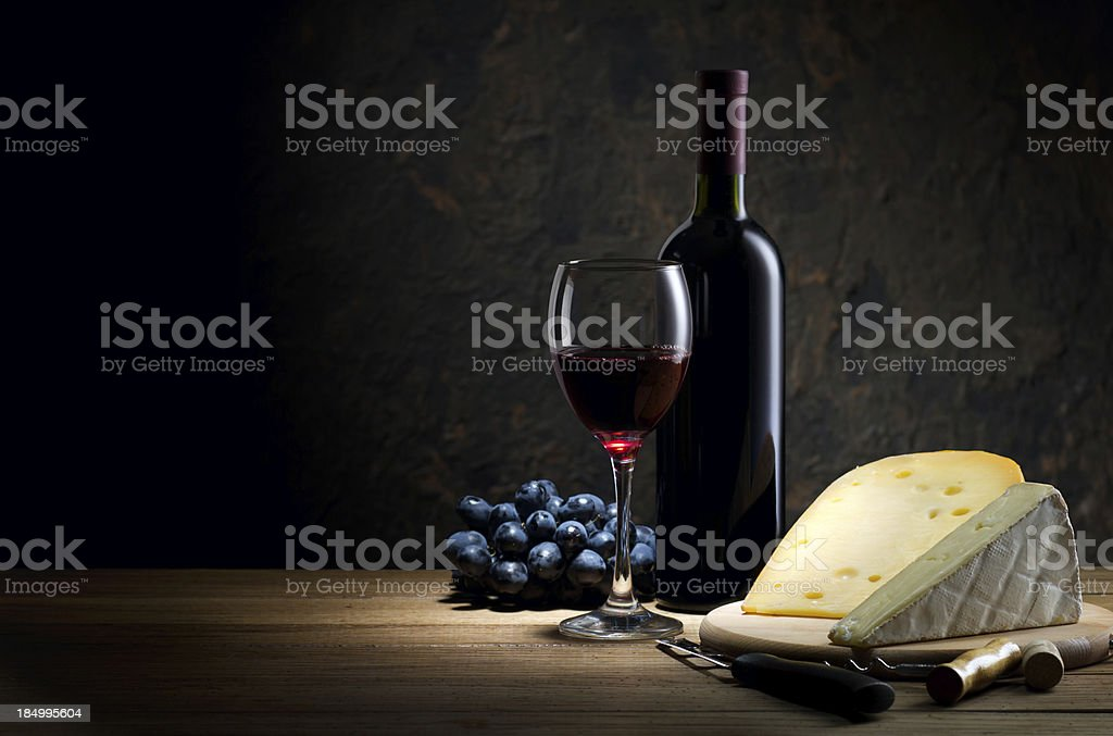 Red wine and cheese royalty-free stock photo