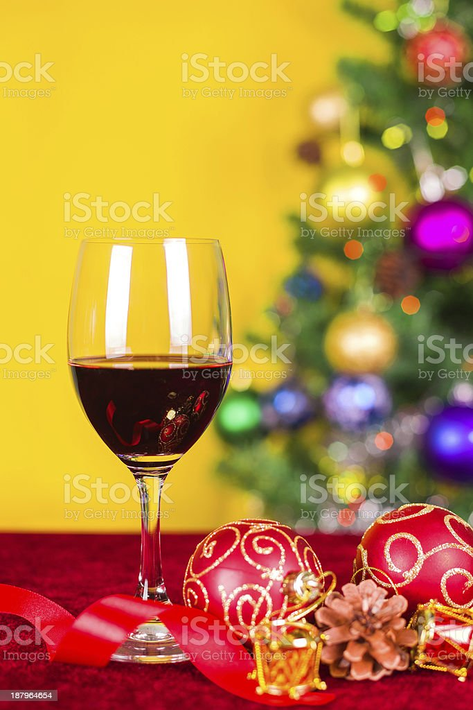 red wine and christmas Decoration stock photo