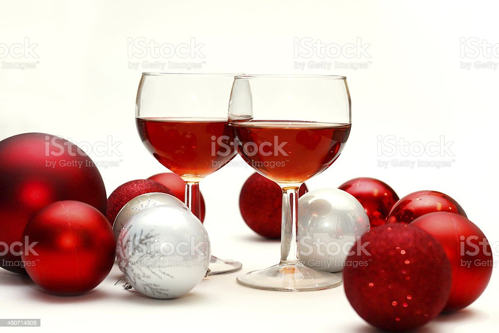 Red Wine and Christmas Decorations stock photo