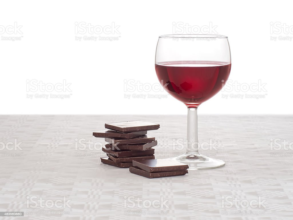 Red wine and dark chocolate - healthy heart, lifestyle concept. stock photo