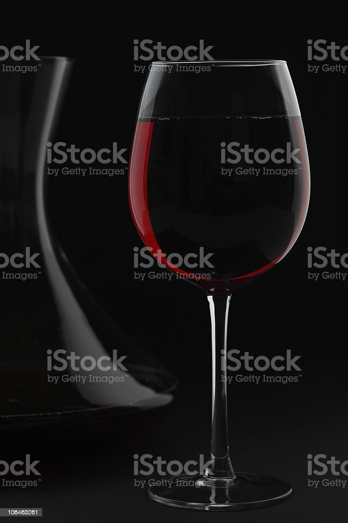 Red Wine and Decanter in Black royalty-free stock photo