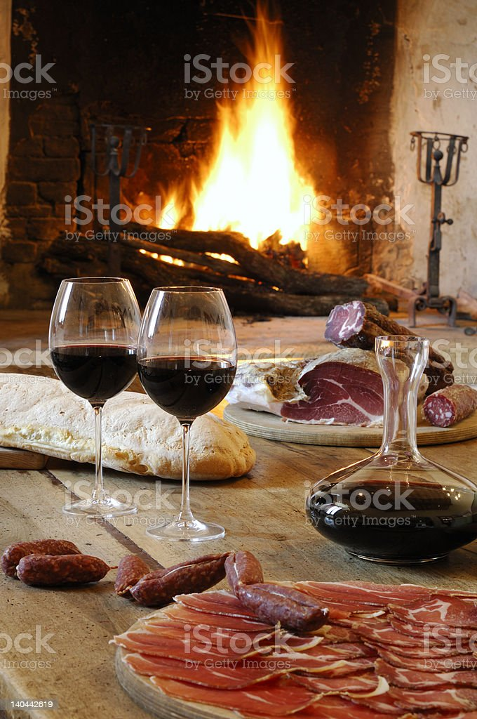 red wine and fireplace royalty-free stock photo