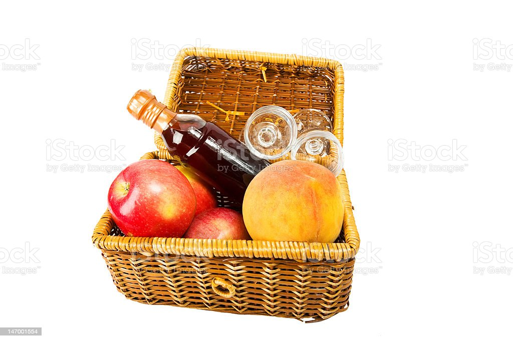 red wine and fruits in picnic hamper royalty-free stock photo