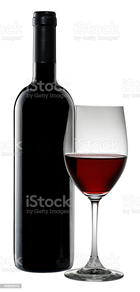 Red wine and glass stock photo
