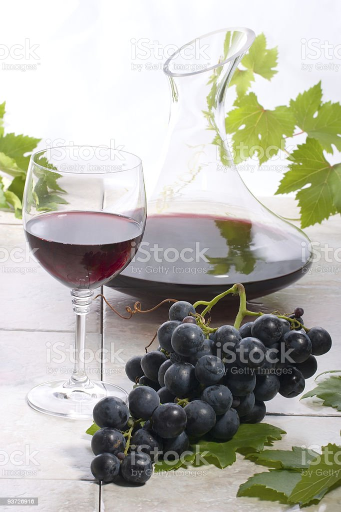 Red wine and grapes royalty-free stock photo