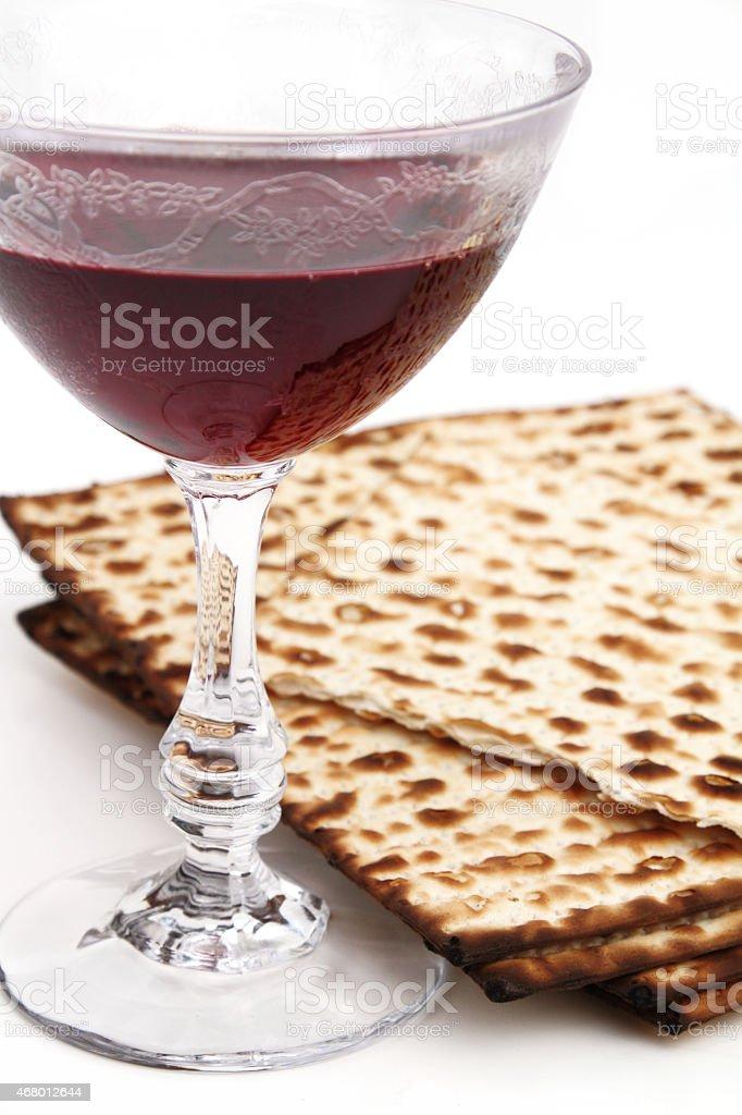 Red wine and kosher matzo bread for Passover stock photo